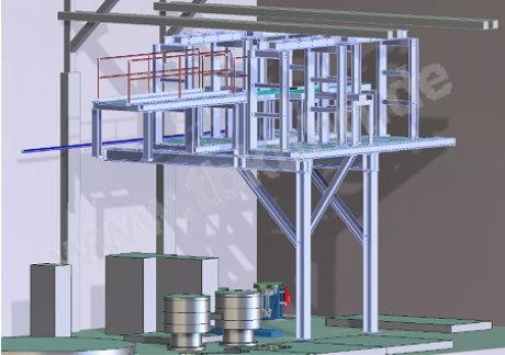 Behälterbühne Konstruktion 3D Modell Stahlbau
