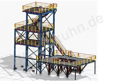 Sandwaschanlage Konstruktion 3D Modell Stahlbau
