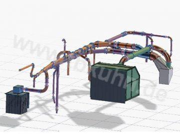 Entstaubungsanlage Konstruktion 3D Modell Anlagenbau