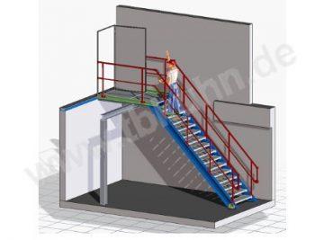 Treppenkonstruktion Konstruktion 3D Modell Stahlbau